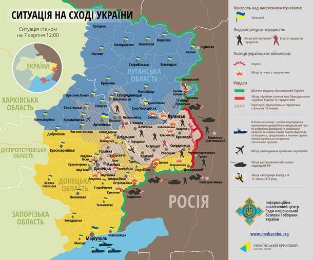 Иначе: Диаграмма военных действий на Донбассе за 7 сентября