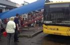 В Киеве автобус въехал в остановку, водитель бежал