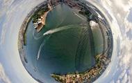 Показаны сферические аэропанорамы красивейших городов мира