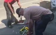 Под МВД убрали цветы и свечи в память о Шеремете