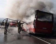 В Симферополе загорелся автобус, перевозивший детей