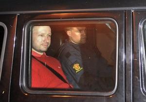 Следователи: Брейвик действовал в одиночку во время терактов