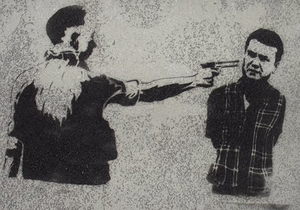 В Одессе на стенах появились изображения Януковича с дулом у виска
