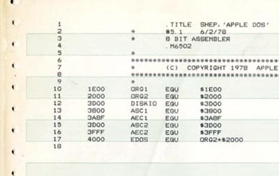 Музей компьютерной истории обнародовал исходный код Apple DOS