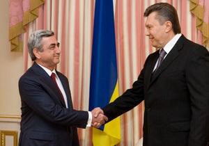 Янукович провел встречу с президентом Армении в формате с глазу на глаз