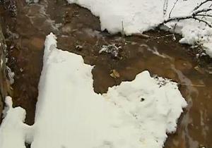 Одна из рек в Донецкой области стала красной