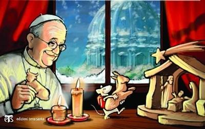 Накануне Рождества Папу Римского  подружили с мышонком