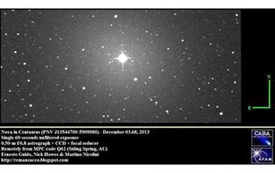 В созвездии Центавра нашли новую звезду