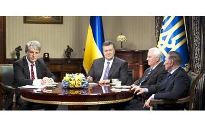 Круглый стол экс-президентов Украины - Кравчук - Янукович - Кучма - Ющенко - Заседание круглого стола Януковича  с тремя экс-президентами Украины