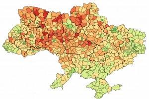 Блогер создал карту  пенсионной  Украины