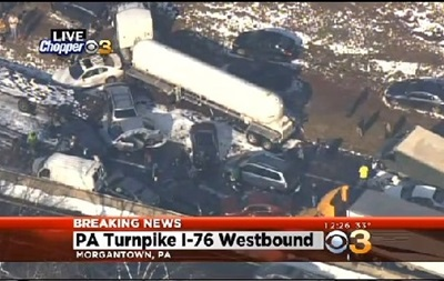 Более 70-ти автомобилей поочередно врезались друг в друга в американском штате Пенсильвания