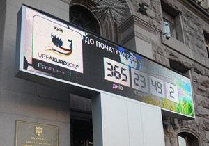 На Крещатике сломались часы, отсчитывающие время до Евро-2012
