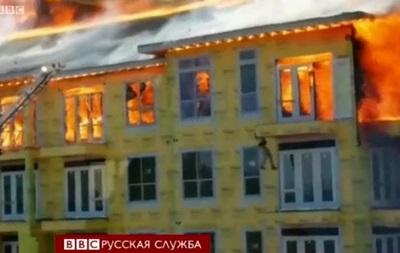 Спасение из горящего здания в Хьюстоне