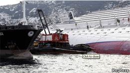 Из Costa Concordia начали откачивать топливо