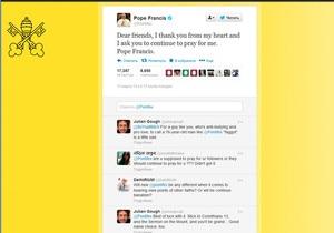 Папа Римский сделал свою первую запись в Twitter