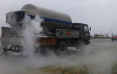 На одной из главных дорог Николаева произошла утечка жидкого кислорода