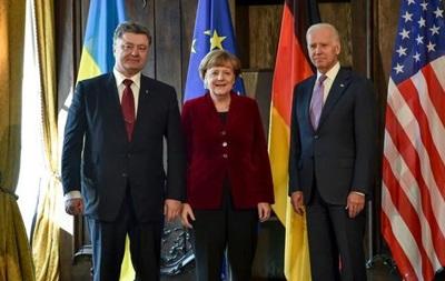 Порошенко, Меркель и Байден согласовали шаги по переговорам о Донбассе