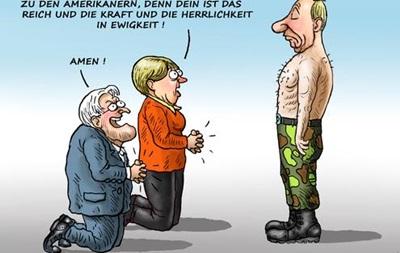 Карикатуры на встречу Меркель и Олланда с Путиным взорвали интернет