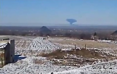 В зоне АТО образовался  гриб  от взрыва