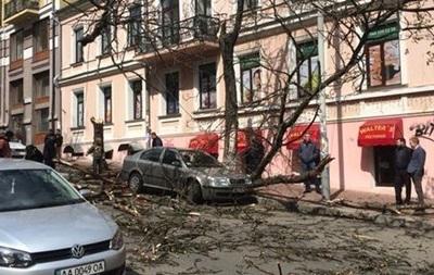 В Киеве ураган повалил деревья и билборды