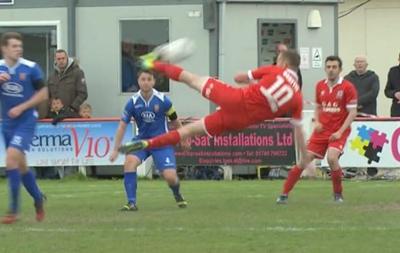 В чемпионате Уэльса был забит потрясающий гол боковыми  ножницами