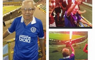 75-летний болельщик Днепра зажигал в фан-секторе любимого клуба