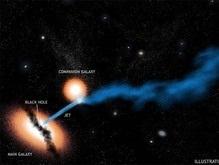 Астрономы увидели атаку черной дыры на соседнюю галактику