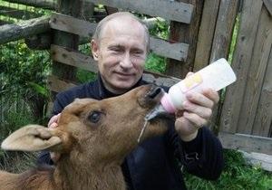 Путин покормил лосят молоком и посадил дерево