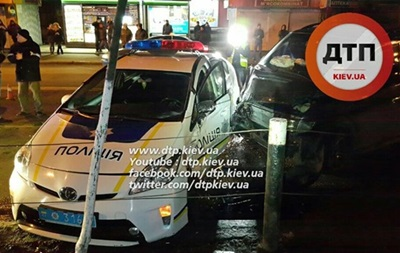 Появилось видео момента ДТП с патрульными Киева