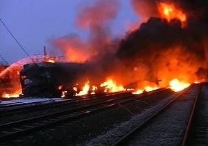 В Башкирии сошли с рельсов и загорелись  шесть вагонов с нефтепродуктами