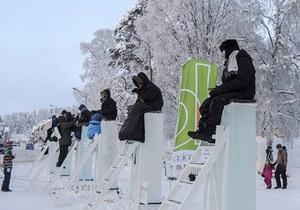 Новости Швеции: В Швеции прошел турнир по сидению на ледяных столбах