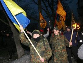 В Донецке факельное шествие националистов едва не привело к столкновениям