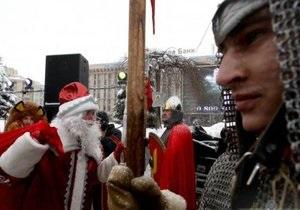 Новый год 2013 - На Майдане Незалежности открылась резиденция Деда Мороза