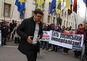 В ожидании Путина: ВО Свобода устроила пикет под Администрацией Януковича