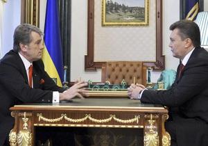 Янукович провел короткую встречу с Ющенко