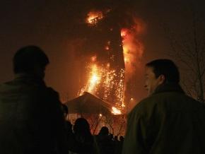 В Китае горит недостроенное здание центрального телевидения