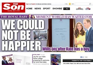 Британская The Sun по случаю рождения наследника единоразово вышла как The Son