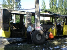 В Николаеве полностью сгорел троллейбус