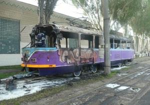 В Одессе сгорел Трамвай