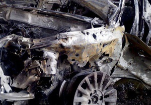 На Оболони сгорел Mercedes