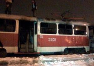 В Донецке сгорел трамвай