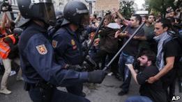 В центре Мадрида произошли ожесточенные столкновения