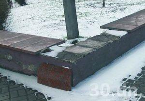 В Енакиево из городского парка украли гранитные плиты