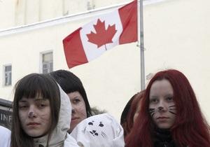 В Киеве возле посольства Канады прошла акция протеста против охоты на детенышей тюленей
