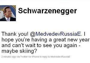 Шварценеггер пригласил Медведева покататься на лыжах