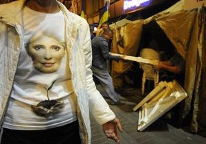 Обстановка в лагере сторонников Тимошенко в центре Киева остается спокойной