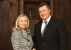 Клинтон выразила Януковичу обеспокоенность политическим преследованием Тимошенко