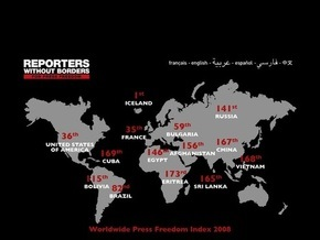 Украина - 87-я в рейтинге свободы прессы