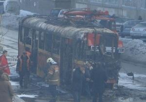 В Киеве сгорел трамвай