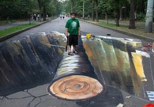 Немецкие художники создали в московских парках 3D-рисунки для Nike